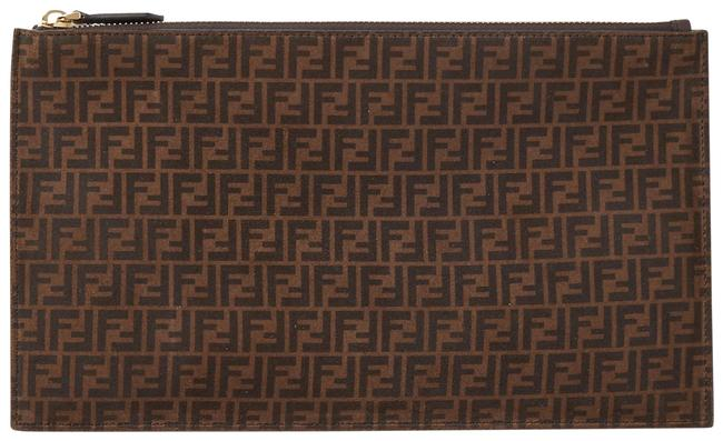 Item - Printed Suede Pouch Brown Leather Clutch
