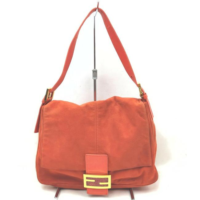 Item - W Ltd Ed Mamma Forever Suede/Lambskin Clasp Tomato Red Suede/Gold/Enamel Lambskin Leather Shoulder Bag