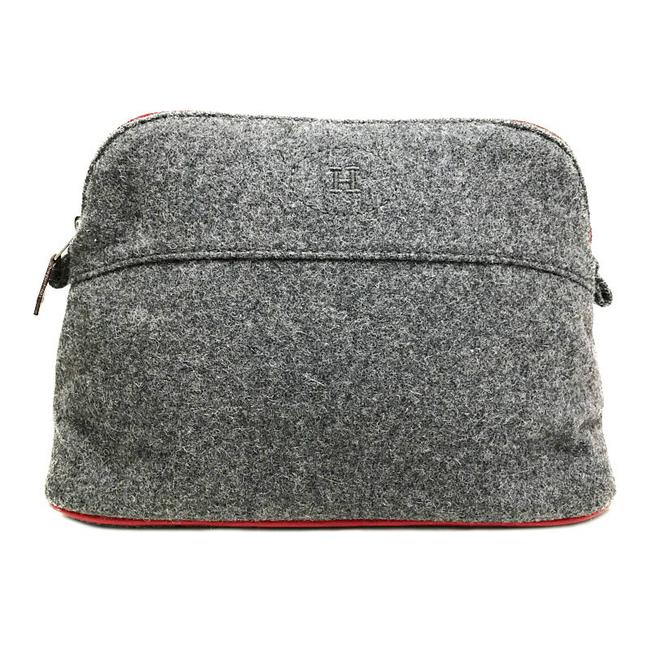 Item - Bored Pouch Mm Men's Women's Cosmetics Gray / Red Color Felt / Wool Clutch
