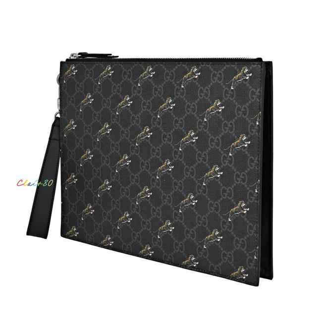 Item - 575136 Tiger Print Clutch/ Wristlet Pouch Black and Grey Gg Supreme & Leather Clutch