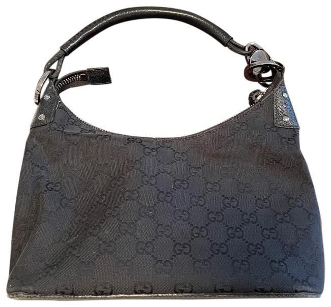 Item - Monogram Classic Black and Silver Canvas Leather Hobo Bag