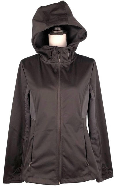 Item - Black Lightweight Full Zip Active Hooded Fitted Medium Activewear Outerwear Size 8 (M)