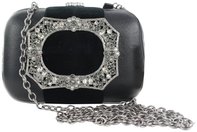 Item - Chain 15a Cc Embellished Crystal Kisslock Minaudiere Black Leather Cross Body Bag