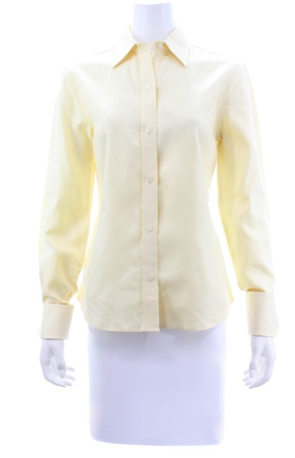 Item - Yellow/White Woven Cotton Shirt Med Button-down Top Size 8 (M)
