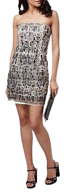 Item - Silver Beaded Embellished Strapless Short Cocktail Dress Size 2 (XS)