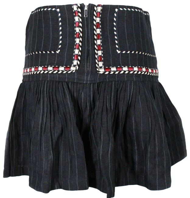 Item - Navy Blue Red White New: Pleated Embroidery Stripe Us - 36 Skirt Size 4 (S, 27)
