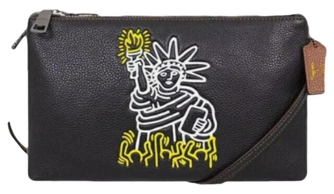 Item - Lyla Statue Of Liberty Keith Haring Nyc Yellow Black Leather Cross Body Bag