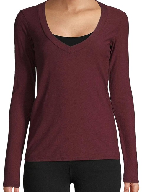 Item - Red Long-sleeve Cotton-blend Tee Shirt Size 0 (XS)