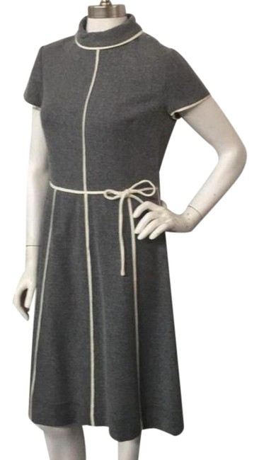 Item - Gray Cream W Vintage W/Cream Piping Short Casual Dress Size 4 (S)