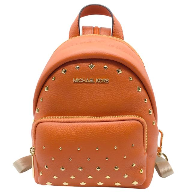 Item - Erin Small Convertible with Studs Tangerine Leather Backpack
