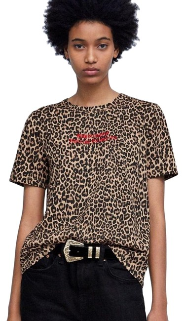 Item - Brown Black Leopard Print Embroidered Slogan Tee Shirt Size 4 (S)