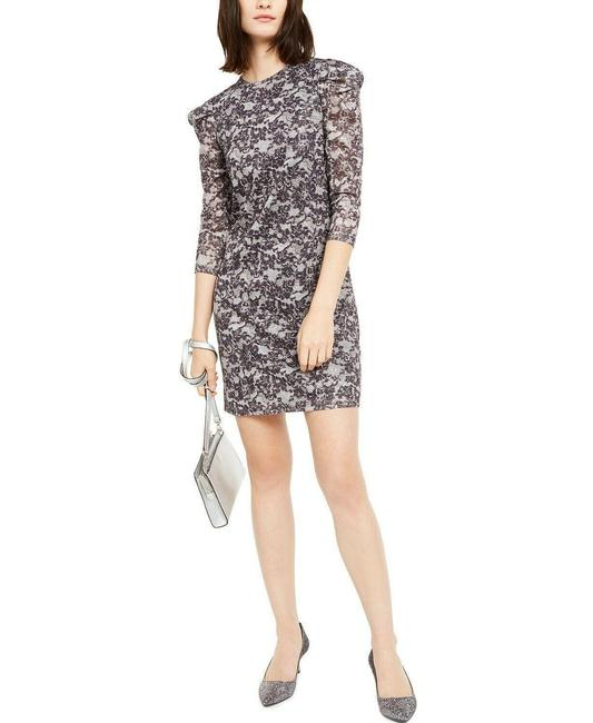 Item - Black/Silver Black/Silver Lace Puff-sleeve Sheath Short Night Out Dress Size 4 (S)