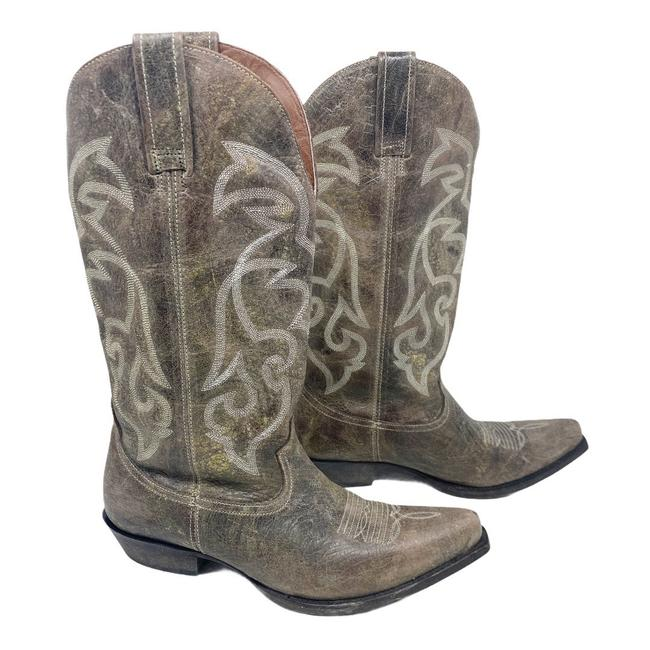 Item - Gray Distressed Leather Western Cowboy Distressed Boots/Booties Size US 9.5 Regular (M, B)
