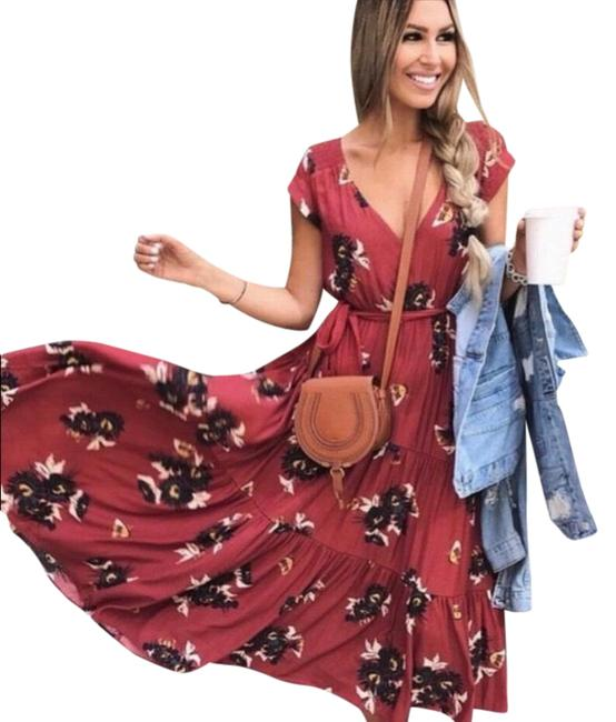Item - Red All I Got Floral Long Casual Maxi Dress Size 6 (S)