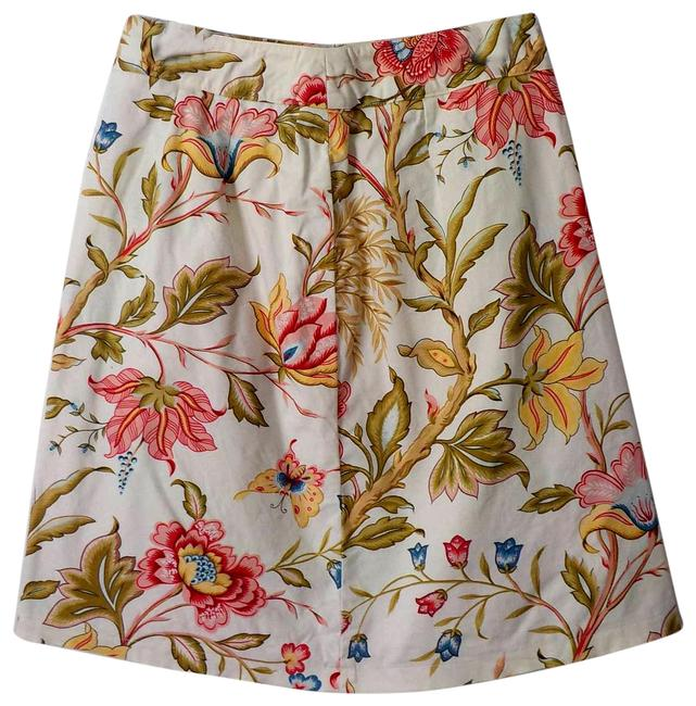 Item - White Big Flowers A-line Pink Stretch Zip Up Butterfly Skirt Size 4 (S, 27)