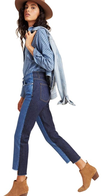 Item - Blue New Closed Glow Colorblocked High-rise Straight Leg Jeans Size 26 (2, XS)