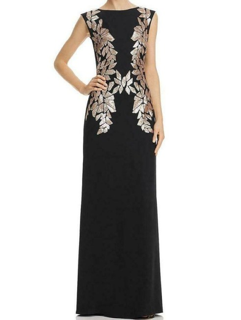 Item - Champagne/Black Sunita Crepe & Sequin Gown Long Formal Dress Size Petite 0 (XXS)