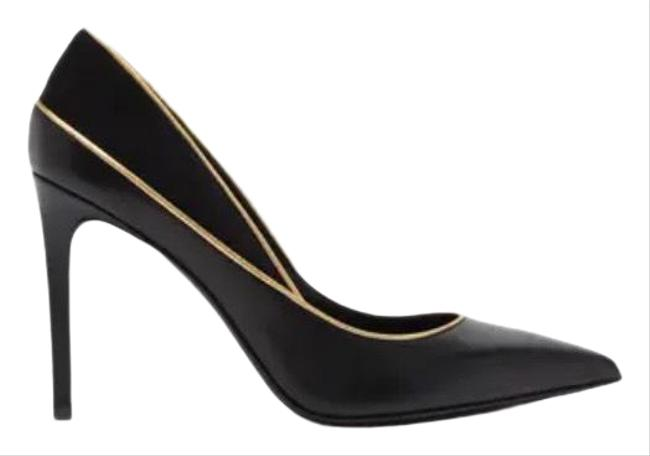 Item - Black Pointed Toe Piped Stiletto Pumps Size EU 37 (Approx. US 7) Regular (M, B)
