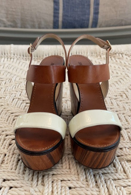 Jimmy Choo Saddle & White Tri-color Wooden Wedges Size US 8.5 Regular (M, B) Jimmy Choo Saddle & White Tri-color Wooden Wedges Size US 8.5 Regular (M, B) Image 2