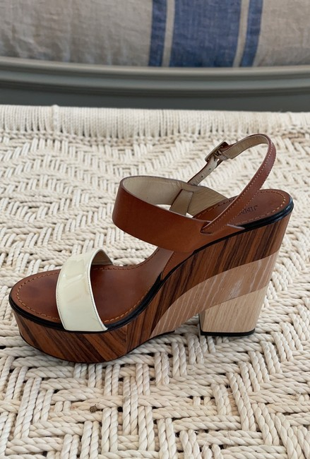 Jimmy Choo Saddle & White Tri-color Wooden Wedges Size US 8.5 Regular (M, B) Jimmy Choo Saddle & White Tri-color Wooden Wedges Size US 8.5 Regular (M, B) Image 11