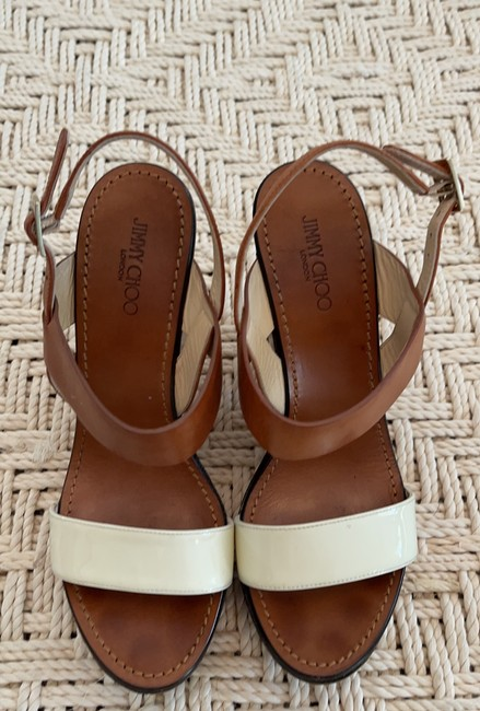 Jimmy Choo Saddle & White Tri-color Wooden Wedges Size US 8.5 Regular (M, B) Jimmy Choo Saddle & White Tri-color Wooden Wedges Size US 8.5 Regular (M, B) Image 3