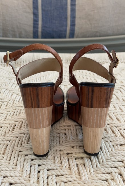 Jimmy Choo Saddle & White Tri-color Wooden Wedges Size US 8.5 Regular (M, B) Jimmy Choo Saddle & White Tri-color Wooden Wedges Size US 8.5 Regular (M, B) Image 4
