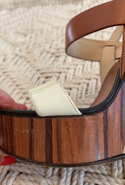 Jimmy Choo Saddle & White Tri-color Wooden Wedges Size US 8.5 Regular (M, B) Jimmy Choo Saddle & White Tri-color Wooden Wedges Size US 8.5 Regular (M, B) Image 8