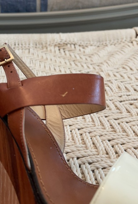 Jimmy Choo Saddle & White Tri-color Wooden Wedges Size US 8.5 Regular (M, B) Jimmy Choo Saddle & White Tri-color Wooden Wedges Size US 8.5 Regular (M, B) Image 9