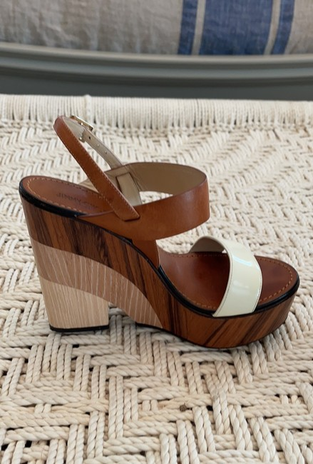 Jimmy Choo Saddle & White Tri-color Wooden Wedges Size US 8.5 Regular (M, B) Jimmy Choo Saddle & White Tri-color Wooden Wedges Size US 8.5 Regular (M, B) Image 10