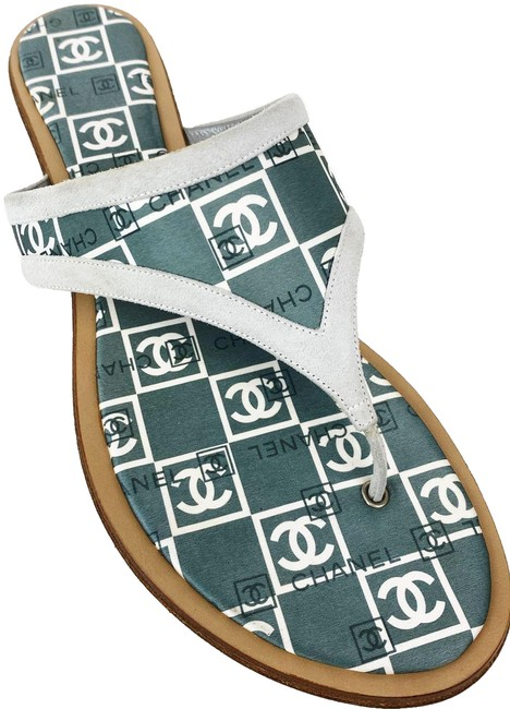 Item - Gray Blue Cc Logo & White Satin Suede Flip Flop Thongs Slide Flat Sandals Size EU 38 (Approx. US 8) Regular (M, B)