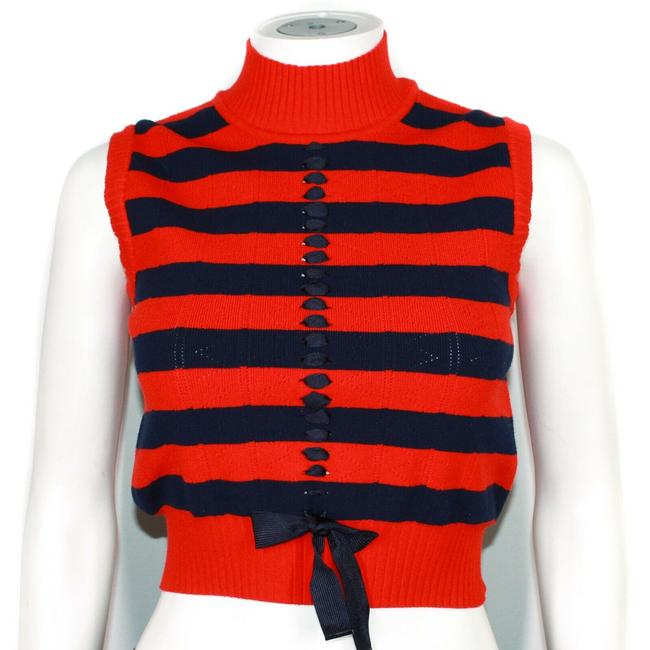 Item - Iconic Cropped Vest Stripe Athleisure Us 0 38 Red - Navy Blue Sweater