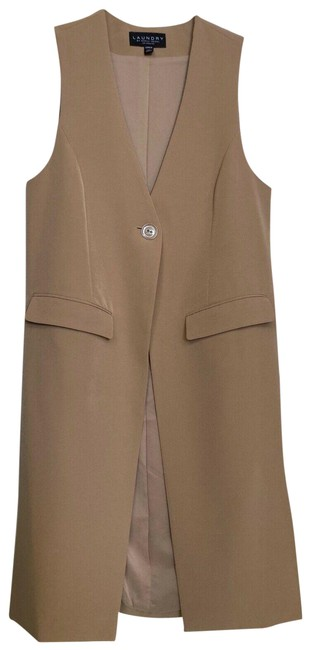 Item - Camel Suit Sleeveless Longline One Button Waistcoat S 16 Activewear Outerwear Size 4 (S)