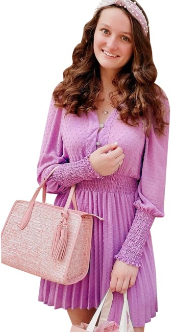 Item - Purple Pleated Dotted Mesh Short Casual Dress Size 2 (XS)