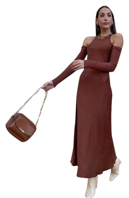 Item - Brown Combination Arm Warmer Long Night Out Dress Size 8 (M)