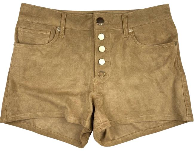 Item - Tan Faux Suede Retro High-rise Gold-toned Button-fly Shorts Size 8 (M, 29, 30)