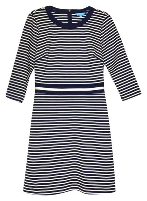Item - Blue Striped Navy White Persley Ponte Short Casual Dress Size 8 (M)