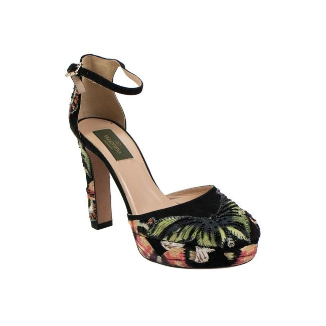 Item - Black Embroidered Floral Heels 8/3 Platforms Size US 8 Regular (M, B)