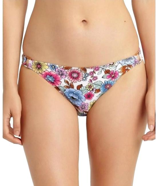 California Waves Floral White Hipster Open Hip Bikini Bottom Size 4 (S) California Waves Floral White Hipster Open Hip Bikini Bottom Size 4 (S) Image 1