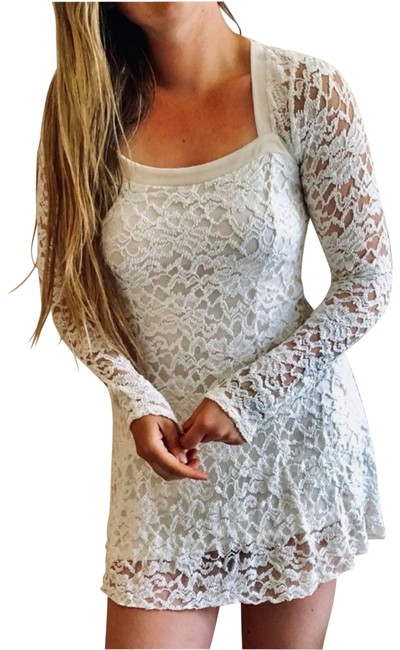 Item - White Fp Cream Flirt For You Lace Sleeve Mini Small Short Casual Dress Size 4 (S)