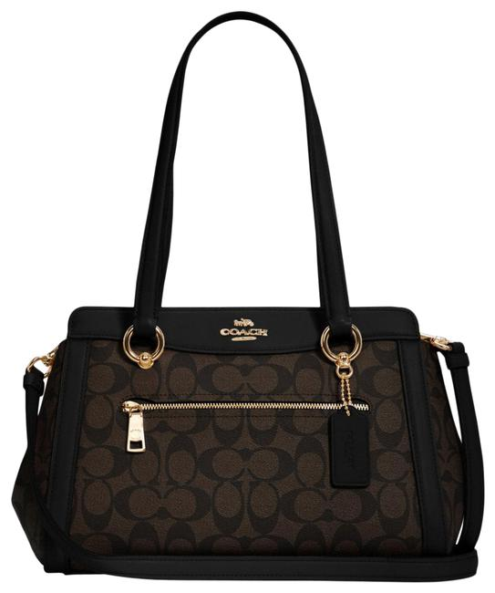 Item - Carryall C2851 Kailey In Signature Brown Black Canvas Satchel