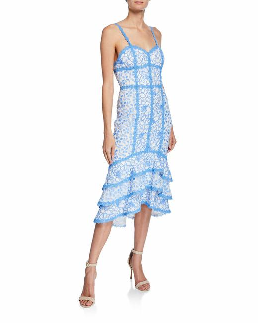 Item - White Blue Diane Alice+olivia Floral Lace Sweetheart High 595 Mid-length Short Casual Dress Size 4 (S)