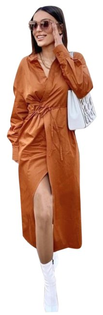 Item - Orange Crossed Wrap Shirt Cotton Long Casual Maxi Dress Size 8 (M)