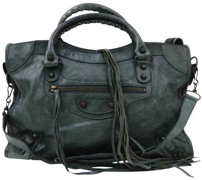 Item - Two-way 'city' with Removable Strap Pewter Grey Leather Satchel