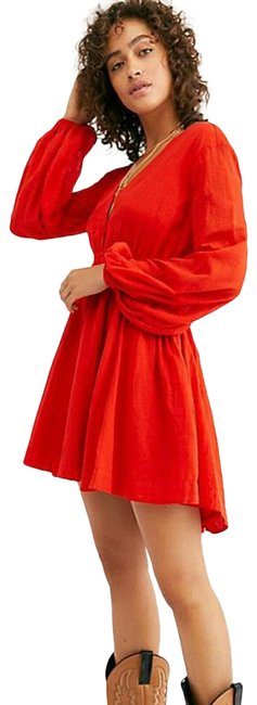Item - Red Formentera Solid Tunic Mini Babydoll Swing S Short Casual Maxi Dress Size 4 (S)