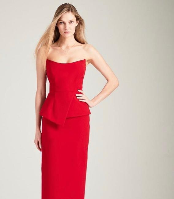 Item - Red Blended Design Blue Modern Bridesmaid/Mob Dress Size 4 (S)
