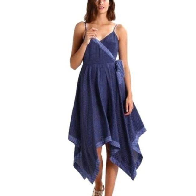 Item - Blue White Strappy Melissa Geo Tie Handkerchief Hem Mid-length Casual Maxi Dress Size 6 (S)