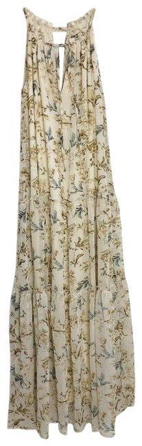 Item - Cream XS Floral Print Sleeveless Tiered Casual Maxi Dress Size 2 (XS)