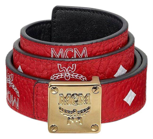 Item - Red Reversible Visetos Leather Square Buckle 100 Myb9amm46av Belt