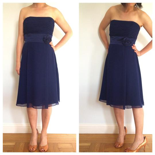 Ann Taylor Blue Chiffon Kay Unger Feminine Bridesmaid/Mob Dress Size 6 (S)