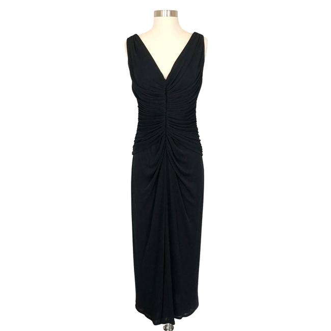 Item - Black Draped Sleeveless Evening Gown Small Long Formal Dress Size 4 (S)